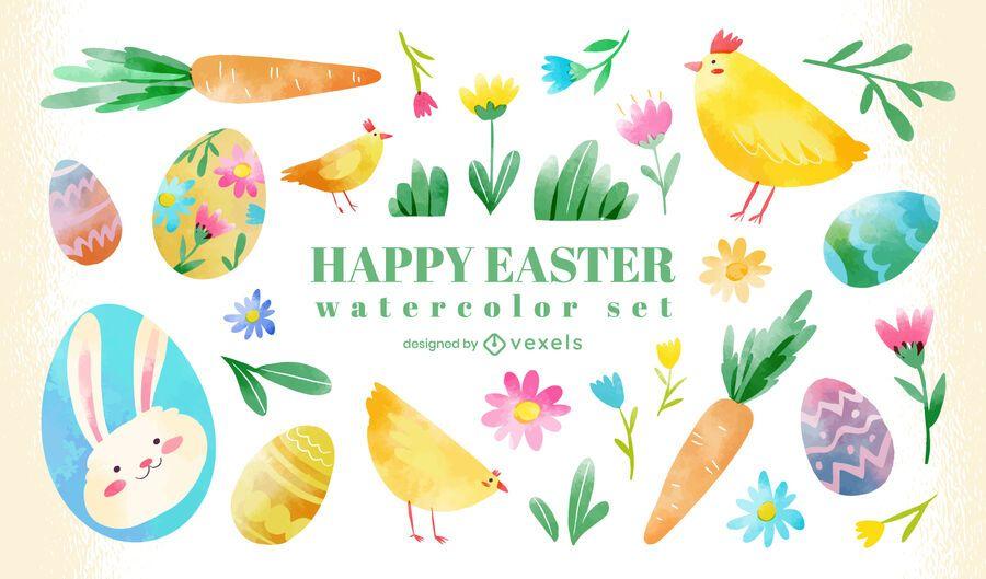 Easter watercolor element set