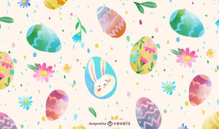 Easter eggs watercolor pattern