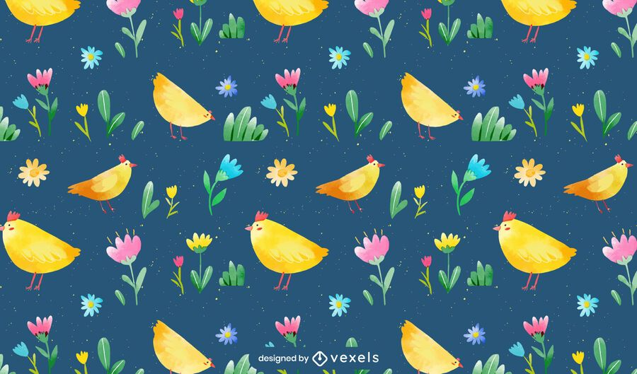 Watercolor chickens pattern design