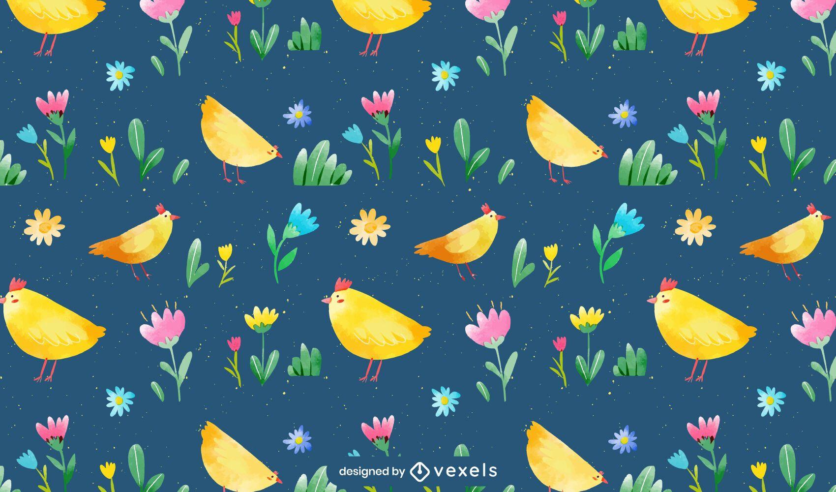 Watercolor chickens pattern design