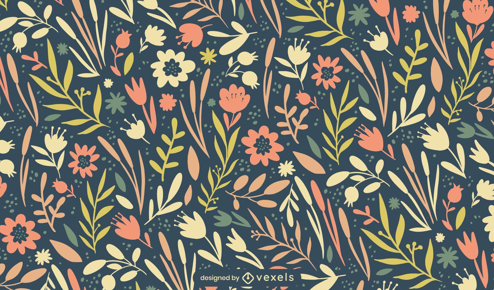 Diseño de patrón de flores de primavera de Pascua