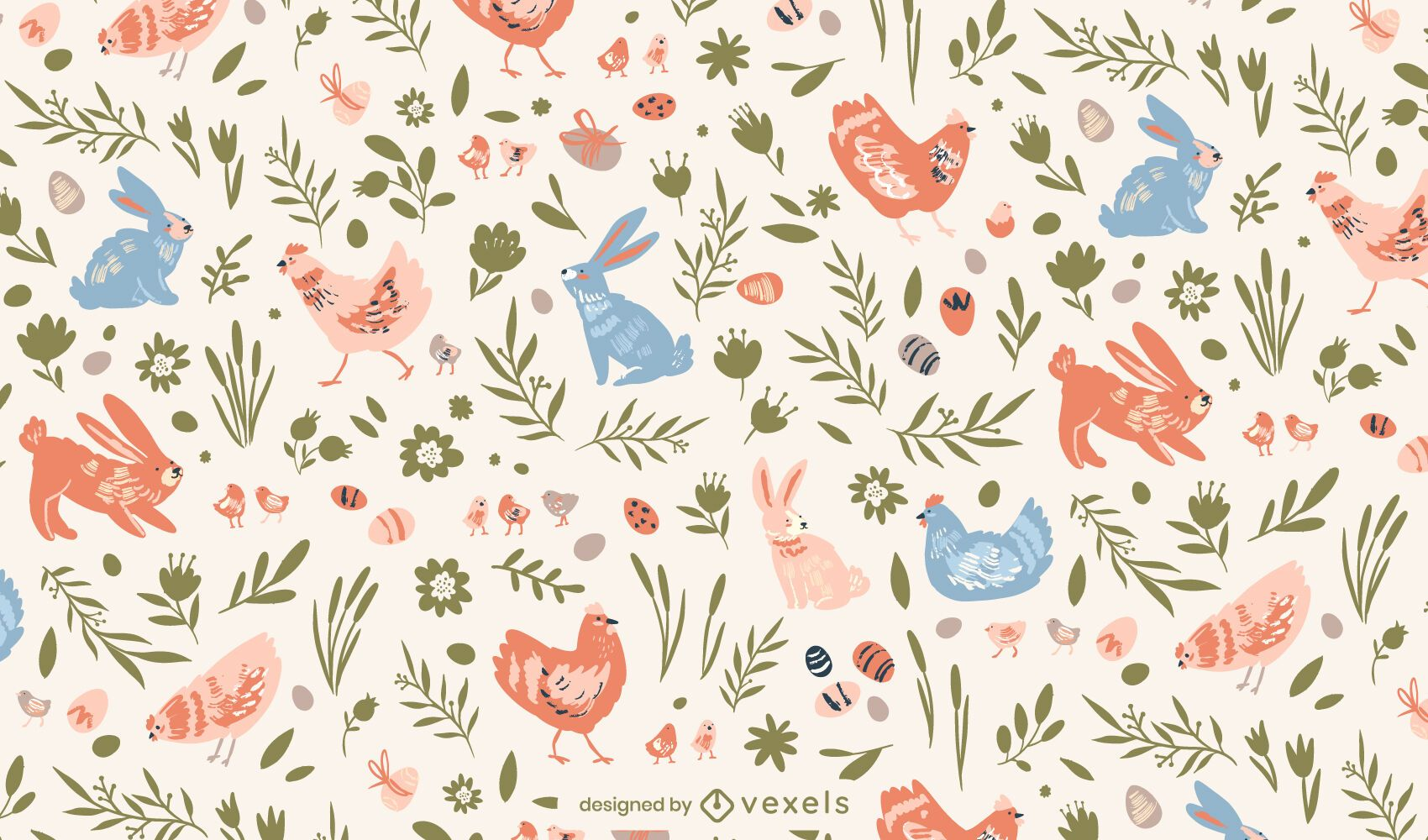 Bunnies and hens easter pattern