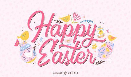 Happy Ostern niedlichen Schriftzug