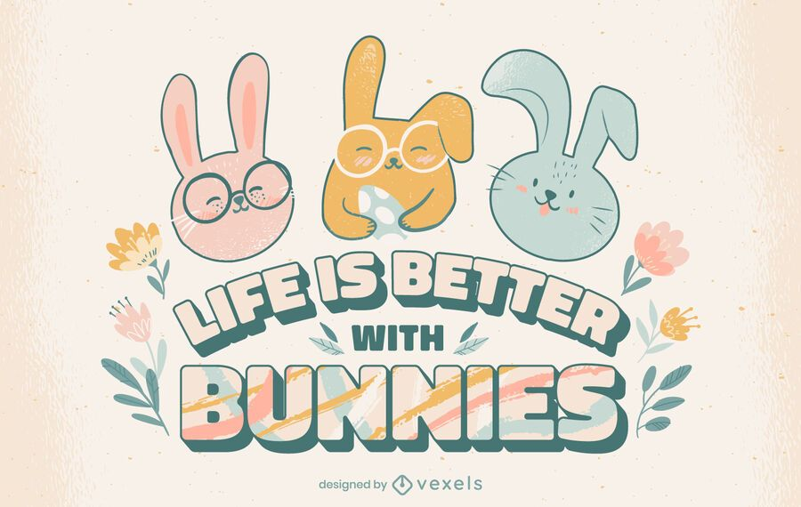 Life with bunnies lettering