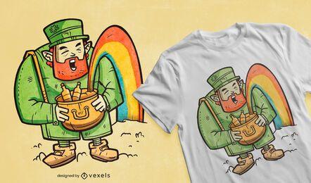 Diseño de camiseta de arco iris de duende