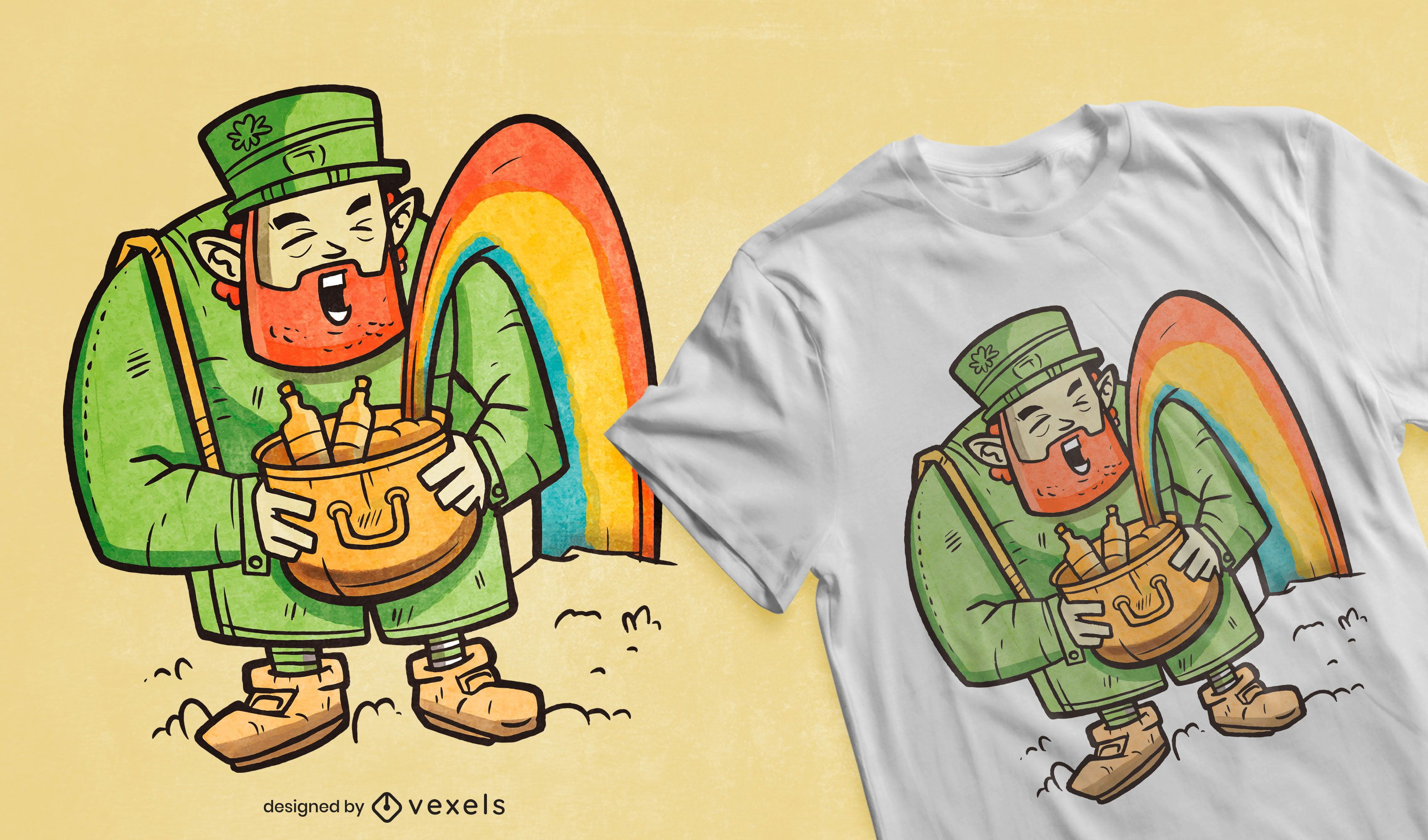 Leprechaun rainbow t-shirt design