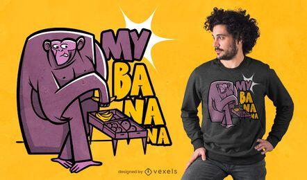 Diseño de camiseta robando mono.