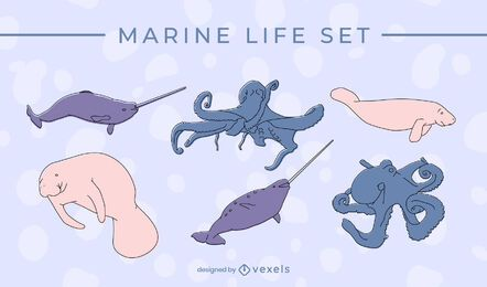 Marine life thin line set