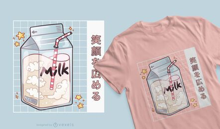 Design de t-shirt kawaii de caixa de leite
