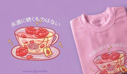 Design de camiseta com chá rosa kawaii