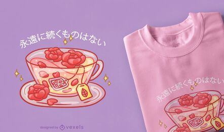 Rose tea kawaii t-shirt design