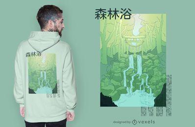 Design de camisetas de anime da floresta mística