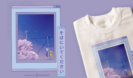 Vaporwave Anime Landschaft T-Shirt Design