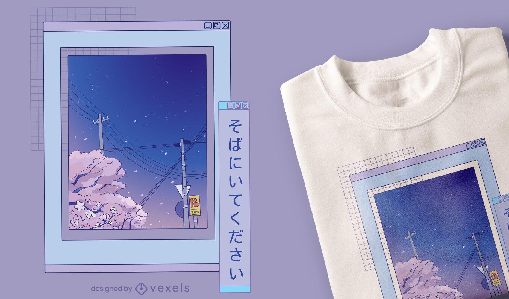 Vaporwave anime landscape t-shirt design