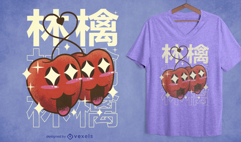 Dise?o de camiseta kawaii manzanas felices