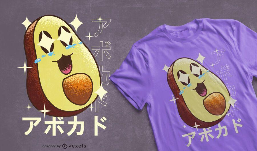 Design de t-shirt feliz abacate kawaii