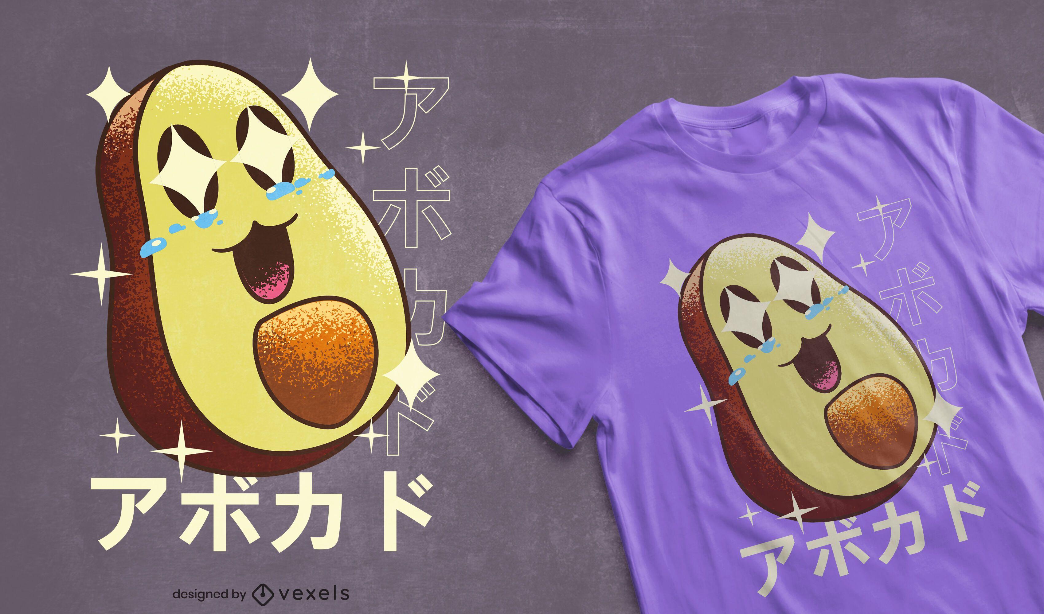 Diseño de camiseta kawaii aguacate feliz
