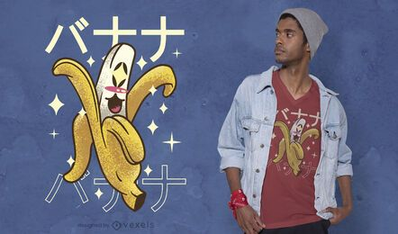 Design de t-shirt banana kawaii feliz