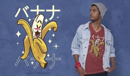 Diseño de camiseta kawaii banana feliz