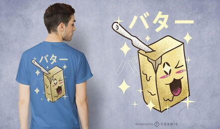 Diseño de camiseta de mantequilla kawaii