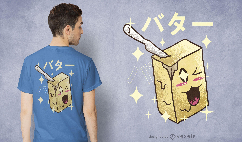 Design de t-shirt de manteiga kawaii