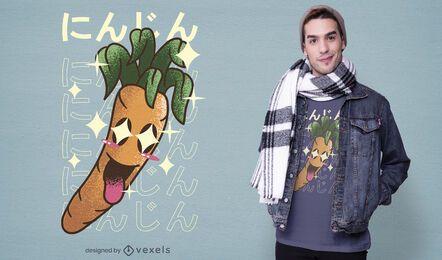 Design de camiseta kawaii com cenoura feliz