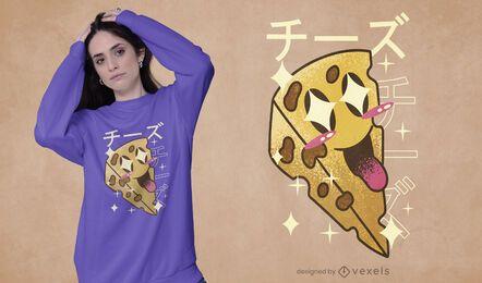 Diseño de camiseta kawaii de queso feliz