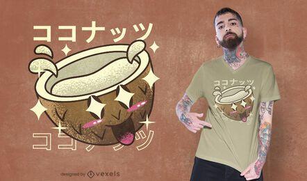 Diseño de camiseta kawaii coco feliz