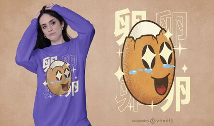 Diseño de camiseta happy egg kawaii