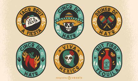 Conjunto de insignias cinco de mayo