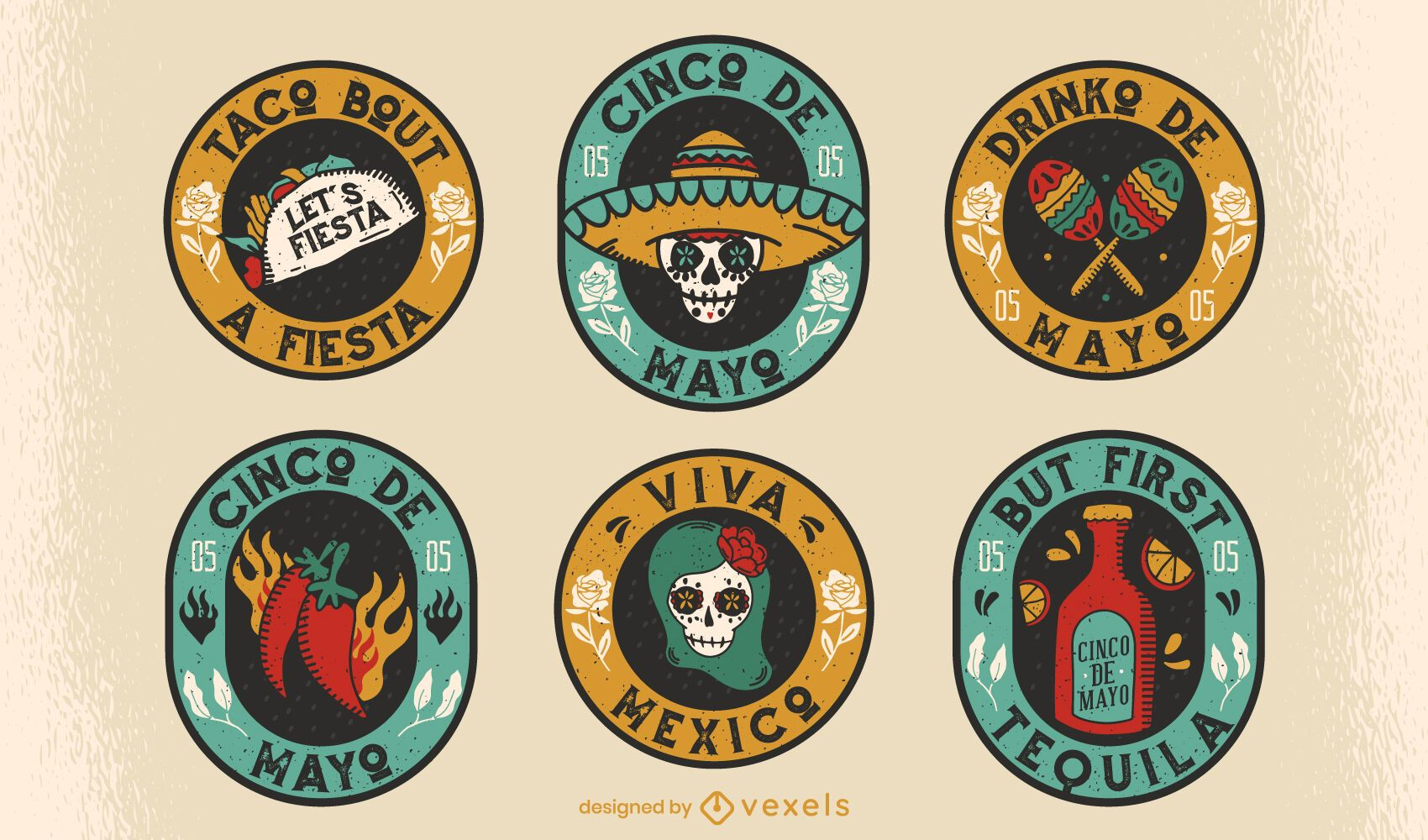 Badge set cinco de mayo