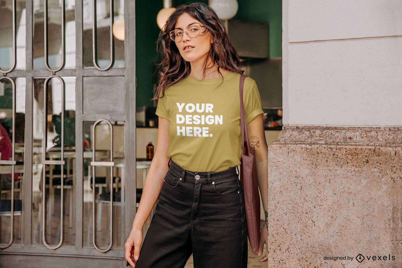 Model glasses t-shirt mockup