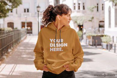 Model hoodie street mockup
