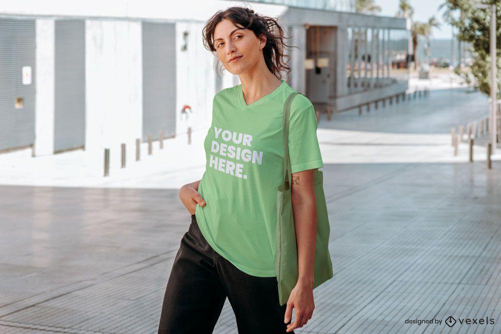 Model oversized t-shirt mockup
