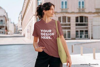 Maqueta de camiseta de calle modelo