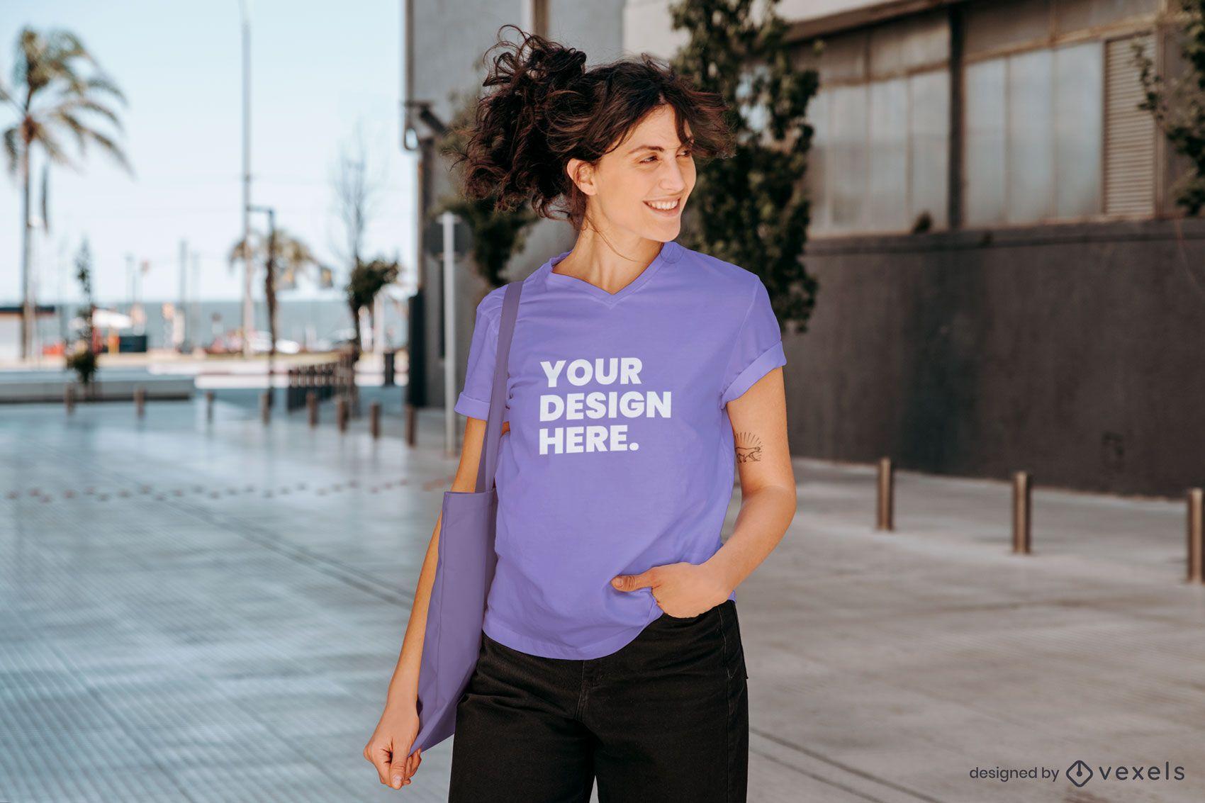 Maquete de modelo de camiseta de rua