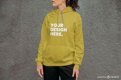 Concrete wall hoodie mockup