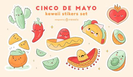 Cinco de mayo sticker set
