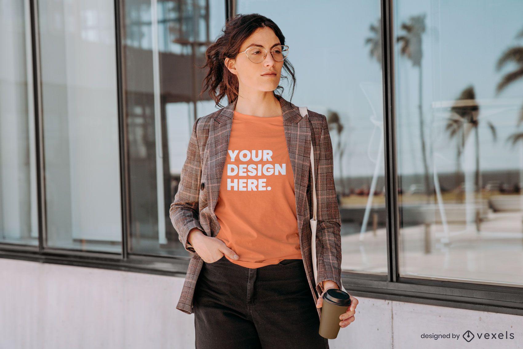 Model with blazer t-shirt mockup