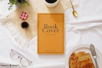 Maqueta de portada de libro de desayuno