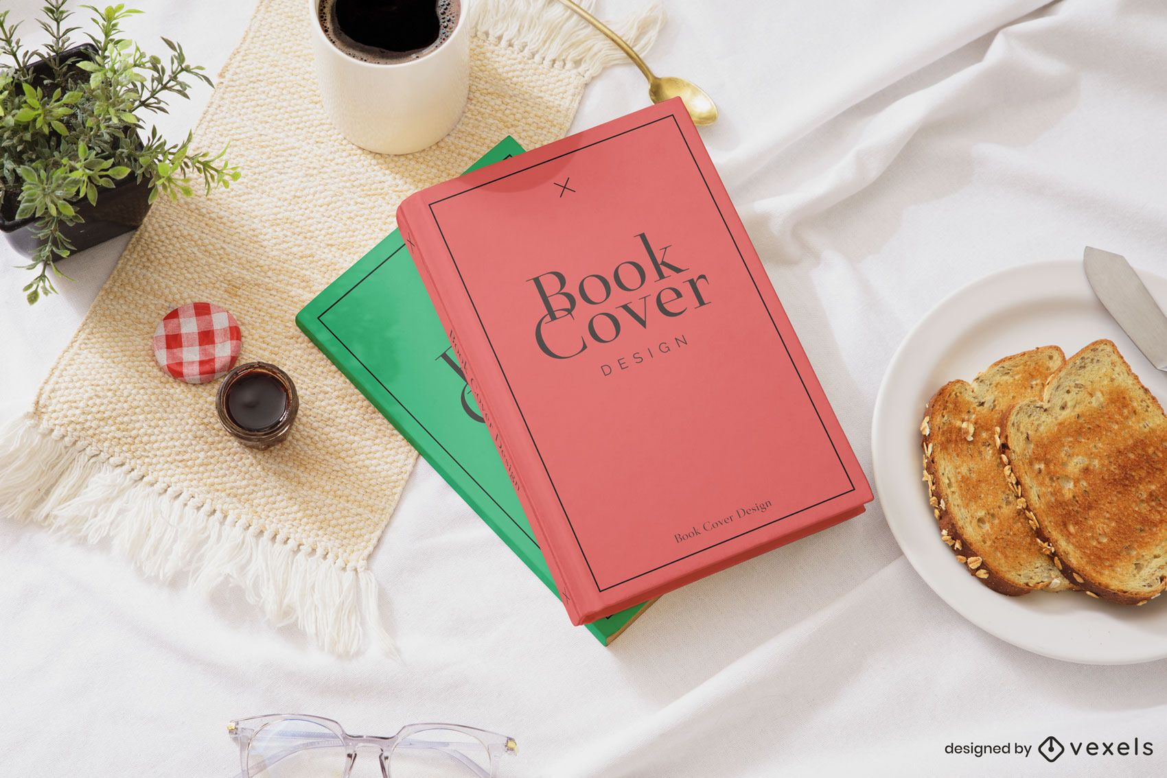 Breakfast book covers mockup composition