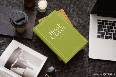 Laptop book cover mockup