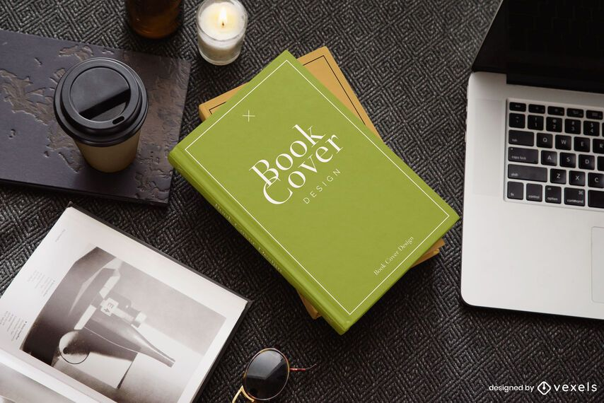 Maqueta de portada de libro para computadora portátil