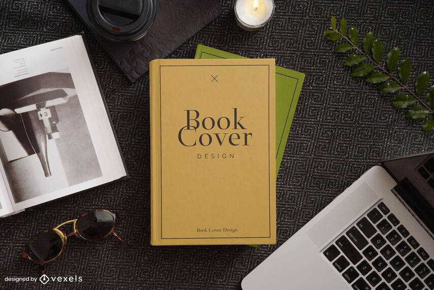 Desk book cover mockup composition