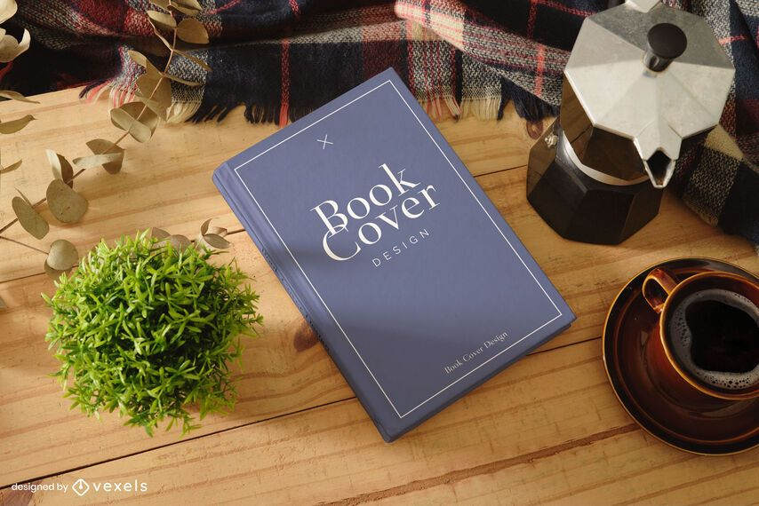 Book cover wooden table mockup