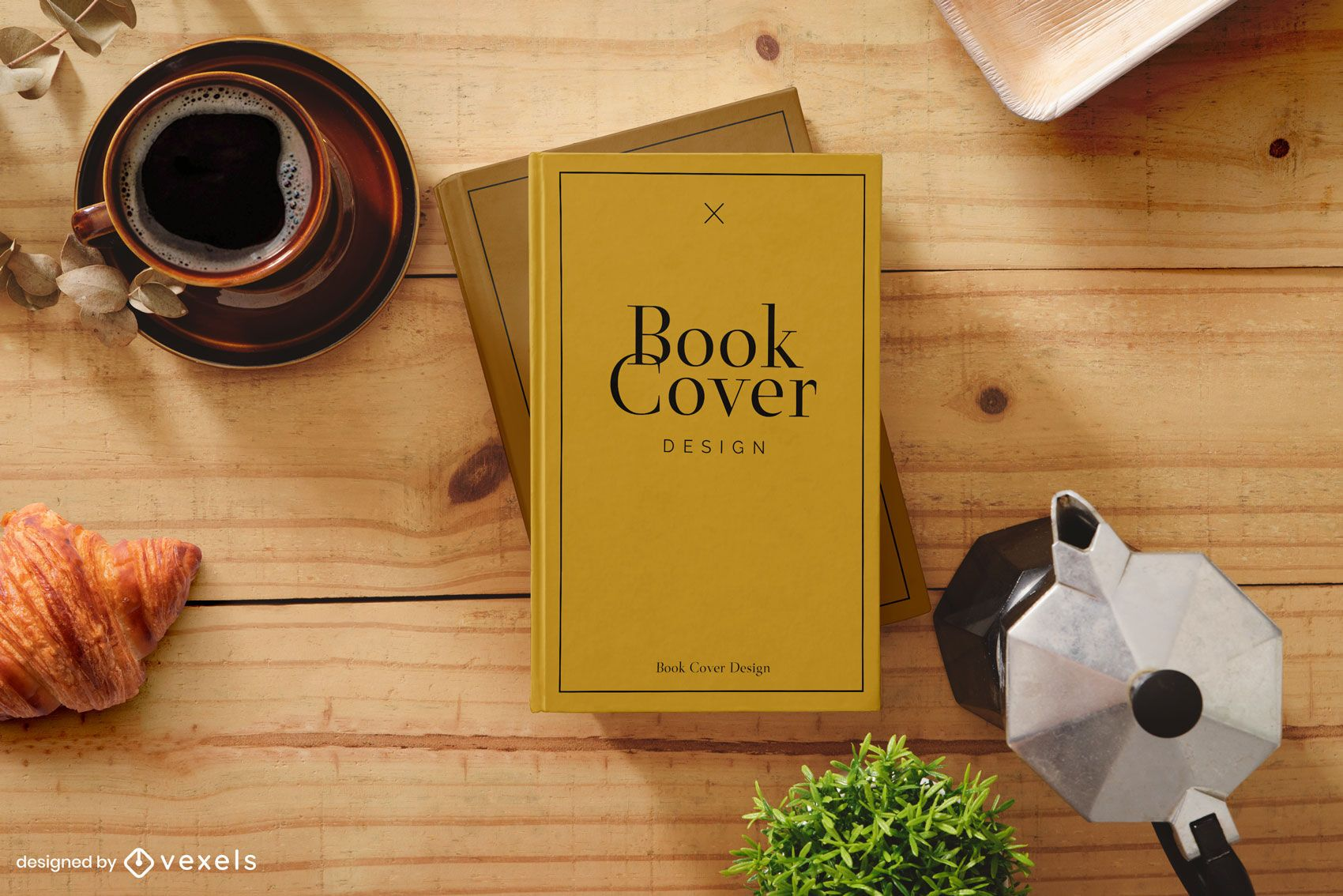Book cover coffee time mockup