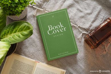 Plants book cover mockup composition
