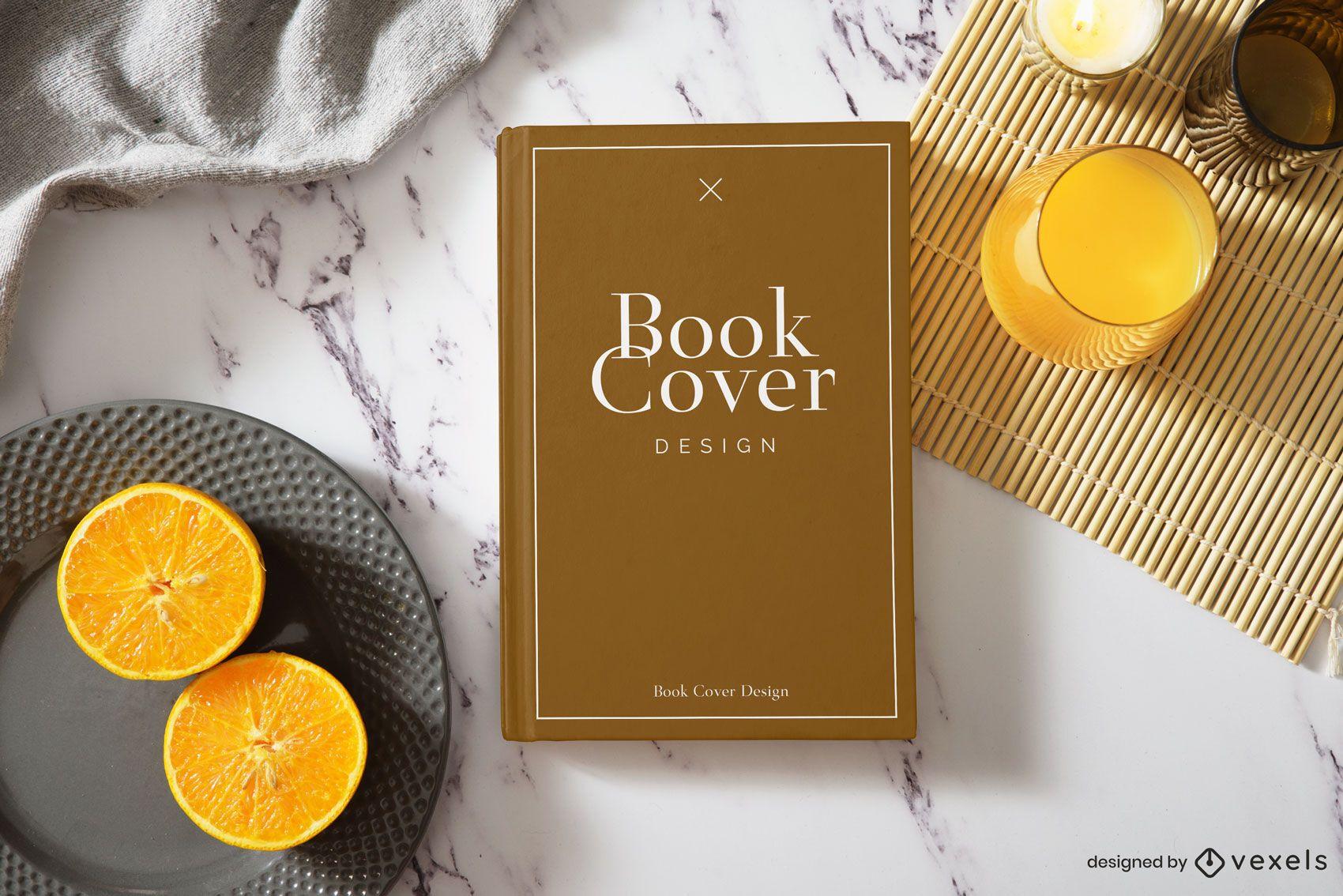 Maqueta de portada de libro naranja