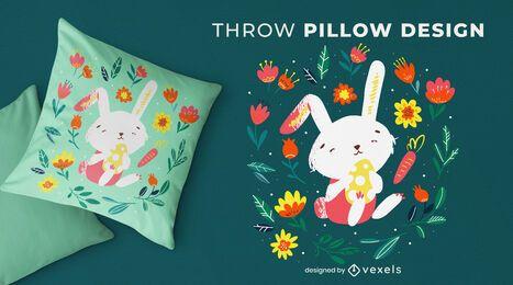 Diseño de almohada de tiro de conejito de pascua