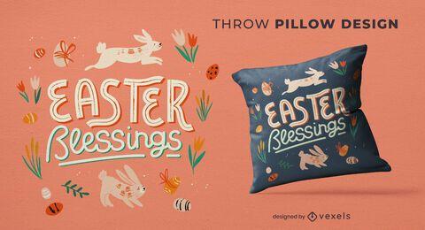 Design de travesseiro com bênçãos de Páscoa